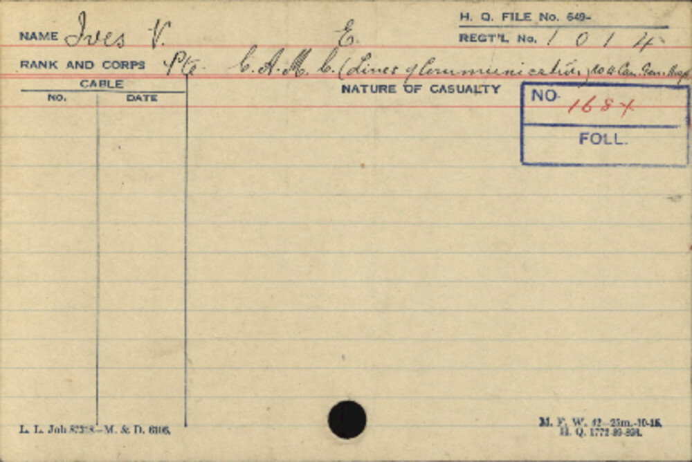 Victor Earl Ives, Service Files, WWI, Cramahe Township