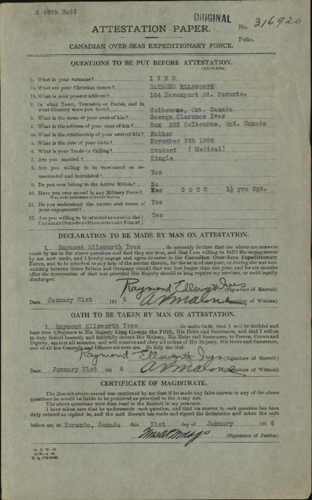 Raymond Ellsworth Ives, Service Files, WWI, Cramahe Township