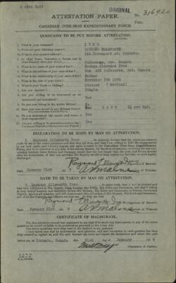Raymond Ellsworth Ives, Service Files, WWI, Cramahe Township