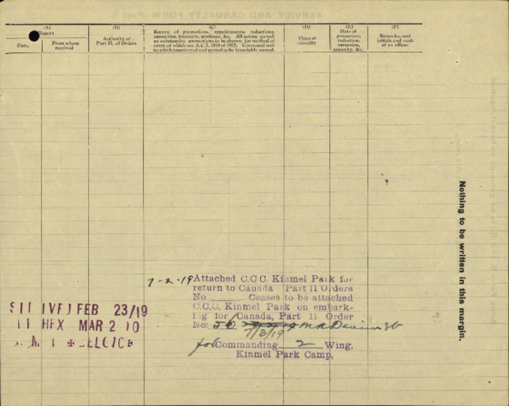 Arthur William Hallenback, Service Files, WWI, Cramahe Township
