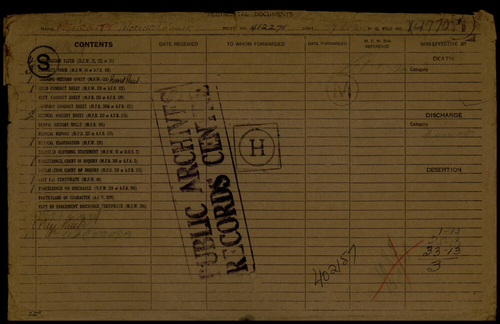 Thomas Phillip Ashcroft, Service Files, WWI, Cramahe Township