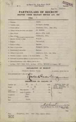Richard Gordon Terry, Service Files, WWI, Cramahe Township