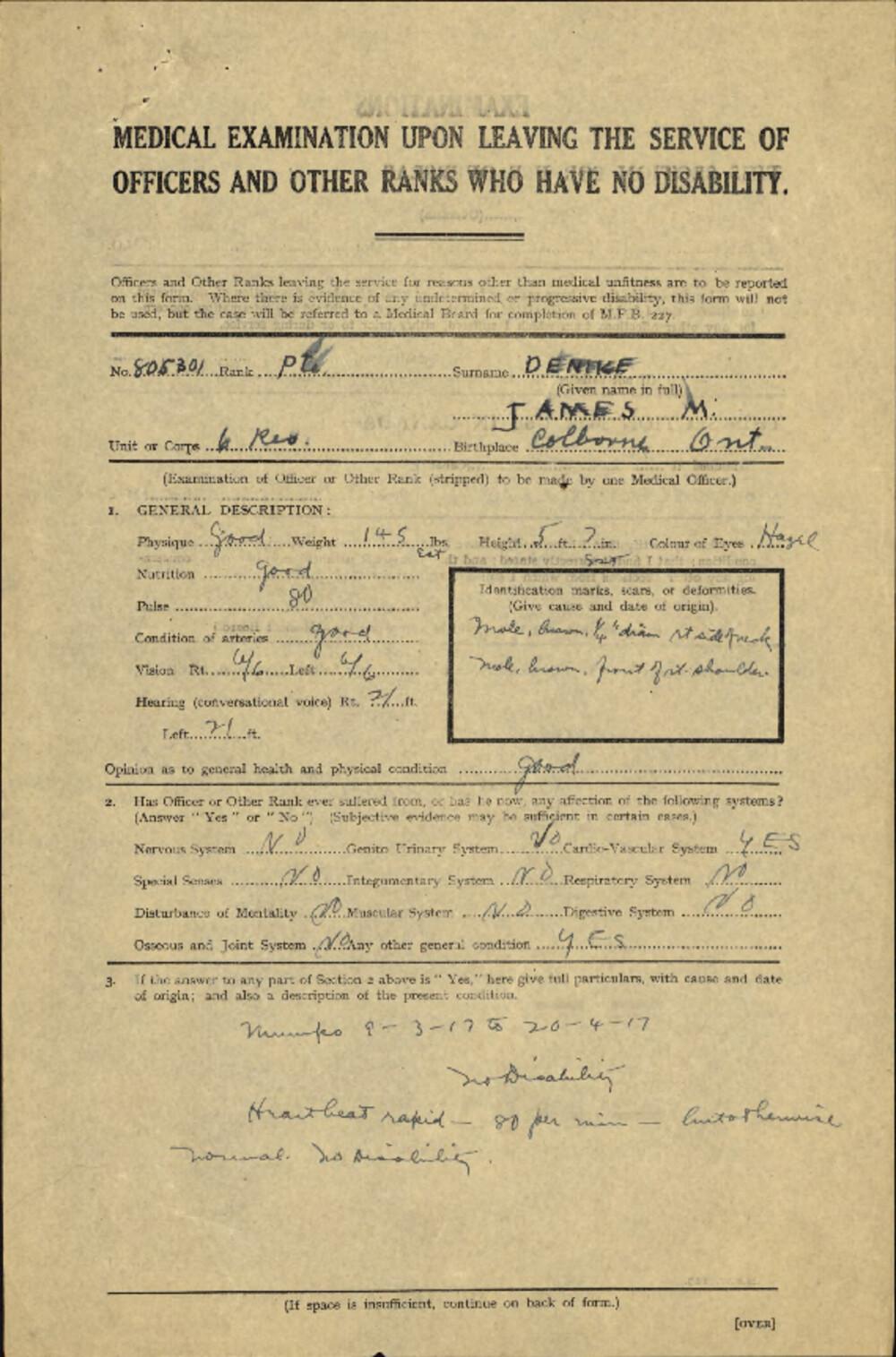 James McGlennon Denike, Service Files, WWI, Cramahe Township