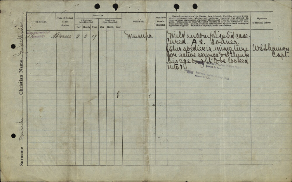 James McGlennon Denike, Service Files, WWI, Cramahe Township