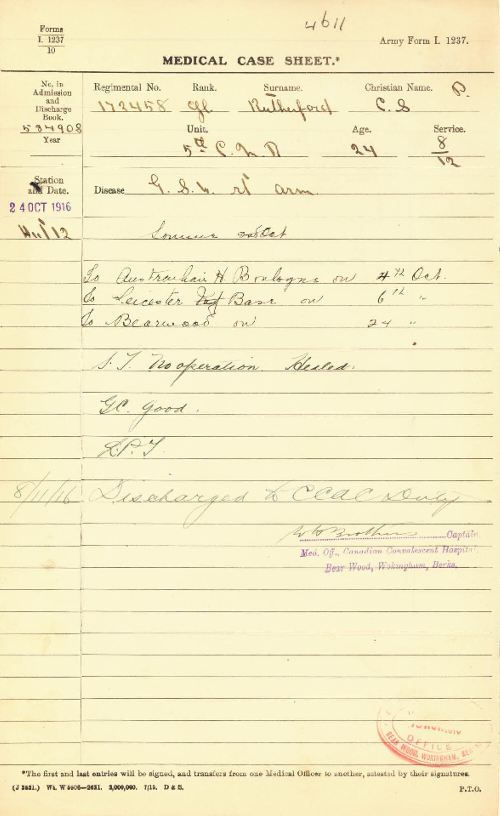 Charles Rutherford, Service Files, WWI, Cramahe Township