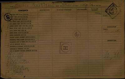 Frank Bicco, Service Records, WWI, Cramahe Township