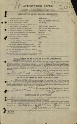 William Goulding, Service Records, WWI, Cramahe Township