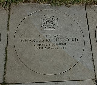Photograph of Victoria Cross memorial stone for Charles Rutherford, National Memorial Arboretum, Stratfordshire, England