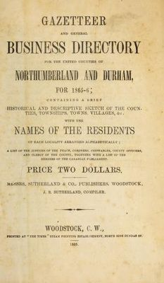 Cramahe residents and business listings, Gazetteer and general business directory for the united counties of Northumberland and Durham, for 1865-6