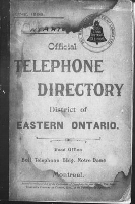 Official telephone directory, district of Eastern Ontario / The Bell Telephone Company of Canada, Ltd : 1899