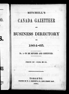 Mitchell's Canada gazetteer and business directory for 1864-65