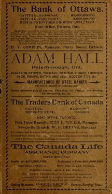 Farmers and Business Directory for the Counties of Durham, Haliburton, Northumberland, Peterboro and Victoria and Districts of  Muskoka, Nipissing, Parry Sound, Algoma and Manitoulin Island for 1903.