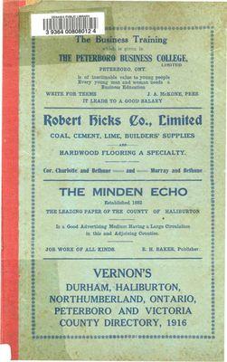1916-17 Vernon's Directory - Durham, Haliburton, Northumberland, Ontario, Peterborough, and Victoria counties.