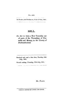 Bill : an act to form a new township out of parts of the townships of Cramahé and Murray, in the county of Northumberland, 1851