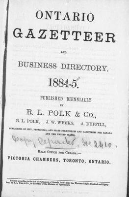 Ontario Gazetteer and Business Directory: 1884-5