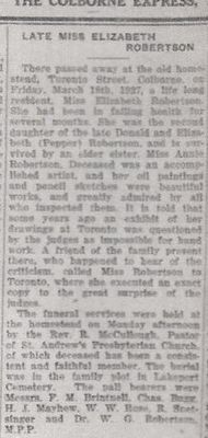 Elizabeth Robertson obituary, Colborne Express newspaper clipping