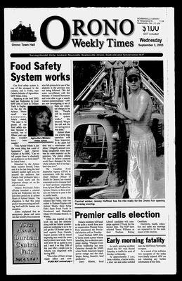 Orono Weekly Times, 3 Sep 2003
