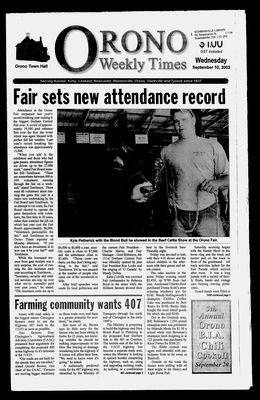 Orono Weekly Times, 10 Sep 2003