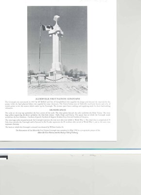 Brief history and significance of the Alderville First Nation Cenotaph