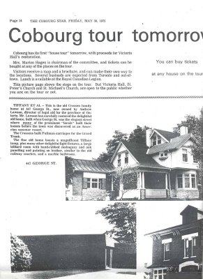 Article and photos of Cobourg house tour 1976