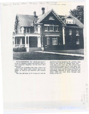 Article regarding Hayden house at 475 George St.