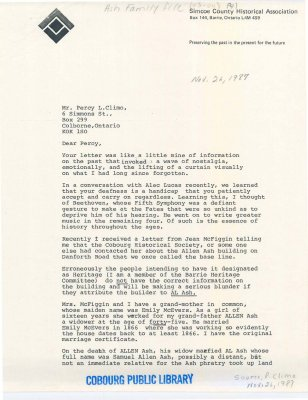 Letter regarding the designation of the Allen Ash building on Danforth Road.