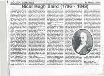 Article regarding Nicol Hugh Baird written by Percy L. Climo