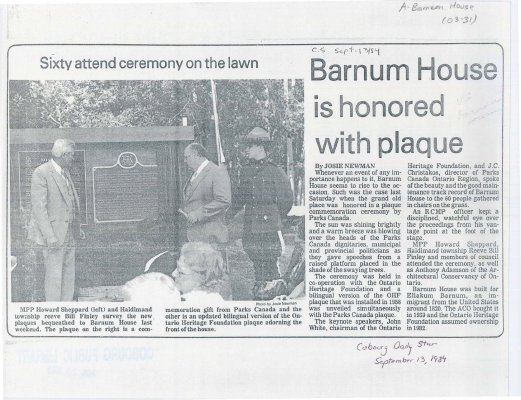 <b>Article and photo on the unveiling of the plaque at Barnum House<b>