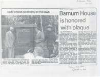 Article and photo on the unveiling of the plaque at Barnum House