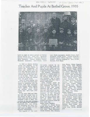 "Article entitled ""Teacher and pupils at Bethel Grove, 1935"""