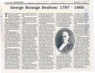 Article regarding George Strange Boulton.