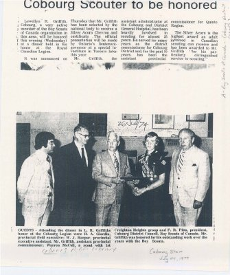 Article regarding the presentation of the Silver Acorn chevron and certificate to Lewellyn R. Griffith.