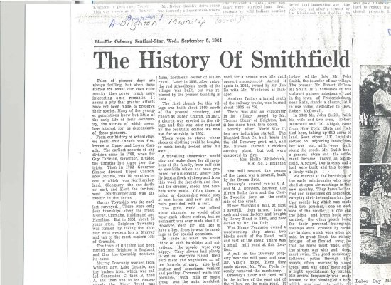 "Article entitled ""History of Smithfield"""