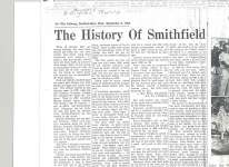 "Article entitled ""History of Smithfield"""