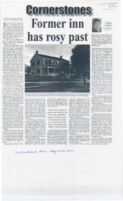 """Article entitled """"Former inn has rosy past"""""""
