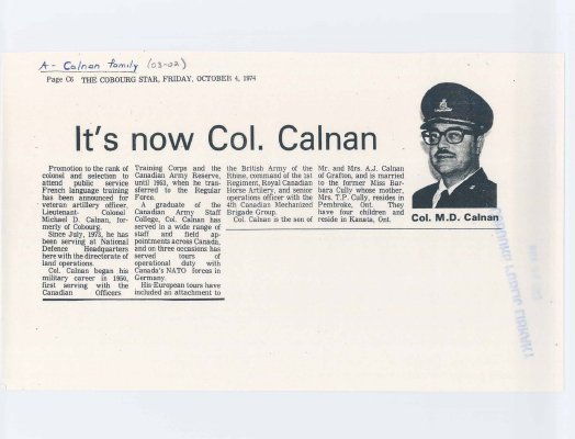 "Article from Cobourg Star titled ""It's now Col. Calnan"""