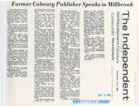 "Article from the 'Independent' entitled ""Former Cobourg Publisher Speaks in Millbrook"""