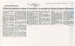Cobourg cabinet-maker's furniture is sought by Royal Ontario Museum