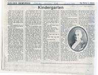 """Article entitled """"Kindergarten"""""""