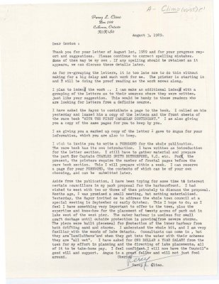 Letter from Percy Climo to Gordon King regarding his new publication