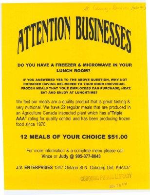 Flyer advertising J. V. Enterprises at 1347 Ontario St. N.