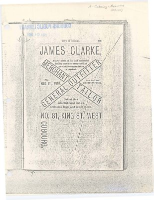 Photocopy of a page of advertising for James Clarke Merchant Tailor and General Outfitter