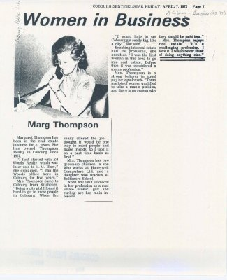 "Article entitled ""Women in business: Marg Thompson"""
