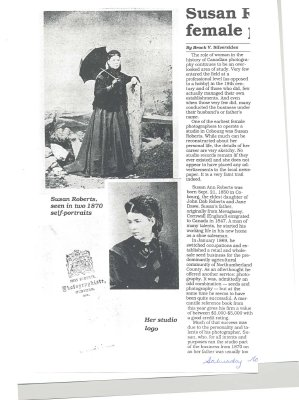 "Article entitled ""Susan Roberts was one of earliest female photographers in Cobourg"""
