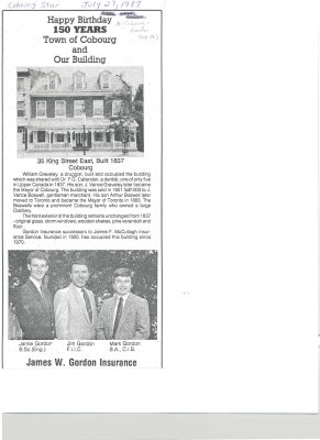 "Summary article entitled ""Happy Birthday 150 years Town of Cobourg and Our Building"""