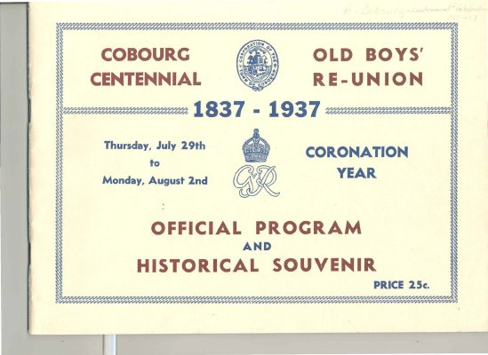 Official Program and Historical Souvenir booklet issued for Cobourg's centennial year