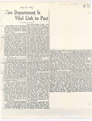 "Newspaper article entitled "" Fire Department is vital link to past"""