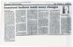"Article entitled ""Unnatural harbour made many changes"""