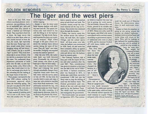 "Article entitled ""The tiger and the west piers"""