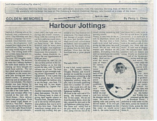 "Article entitled ""Harbour Jottings"""